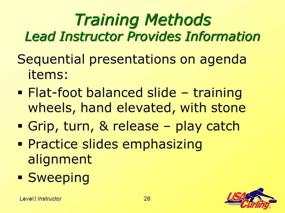 Training Methods Lead Instructor Provides Information