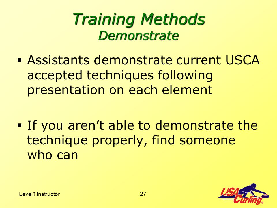 Training Methods Demonstrate