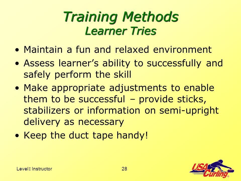 Training Methods Learner Tries