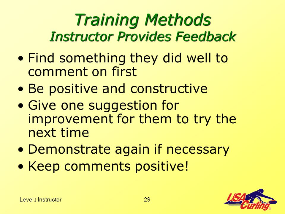 Training Methods Instructor Provides Feedback