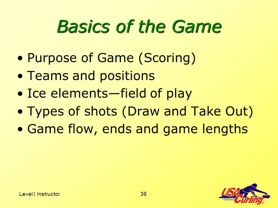 Basics of the Game Purpose of Game (Scoring) Teams and positions