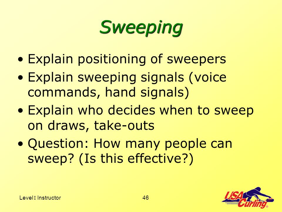 Sweeping Explain positioning of sweepers