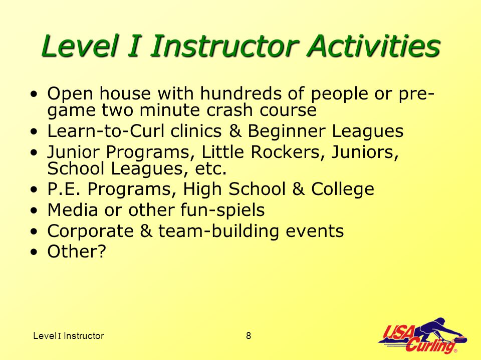Level I Instructor Activities
