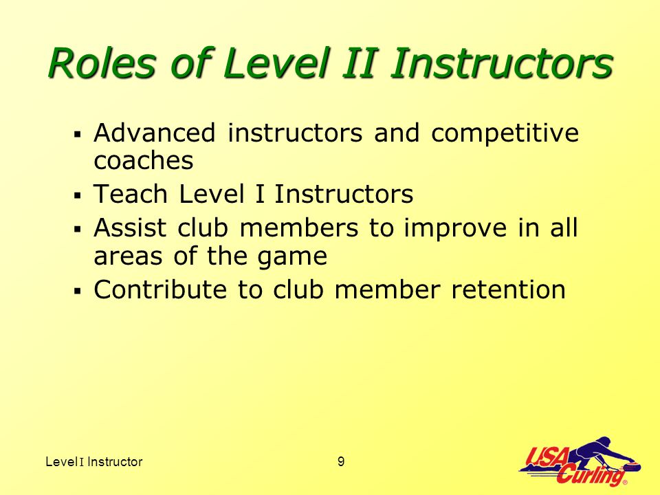 Roles of Level II Instructors
