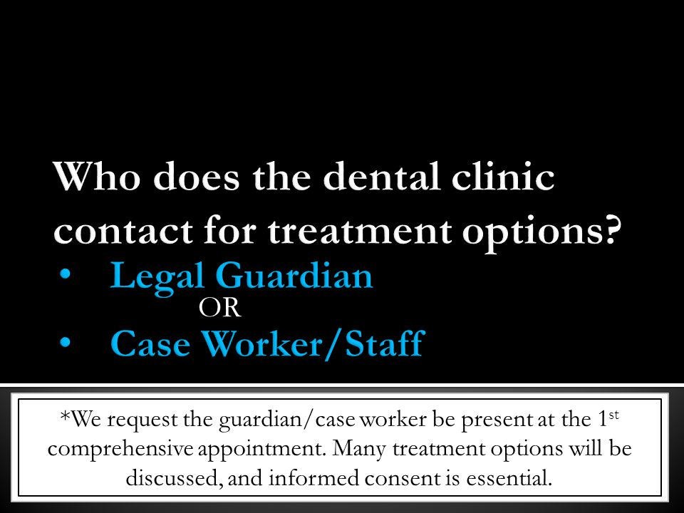 Who does the dental clinic contact for treatment options