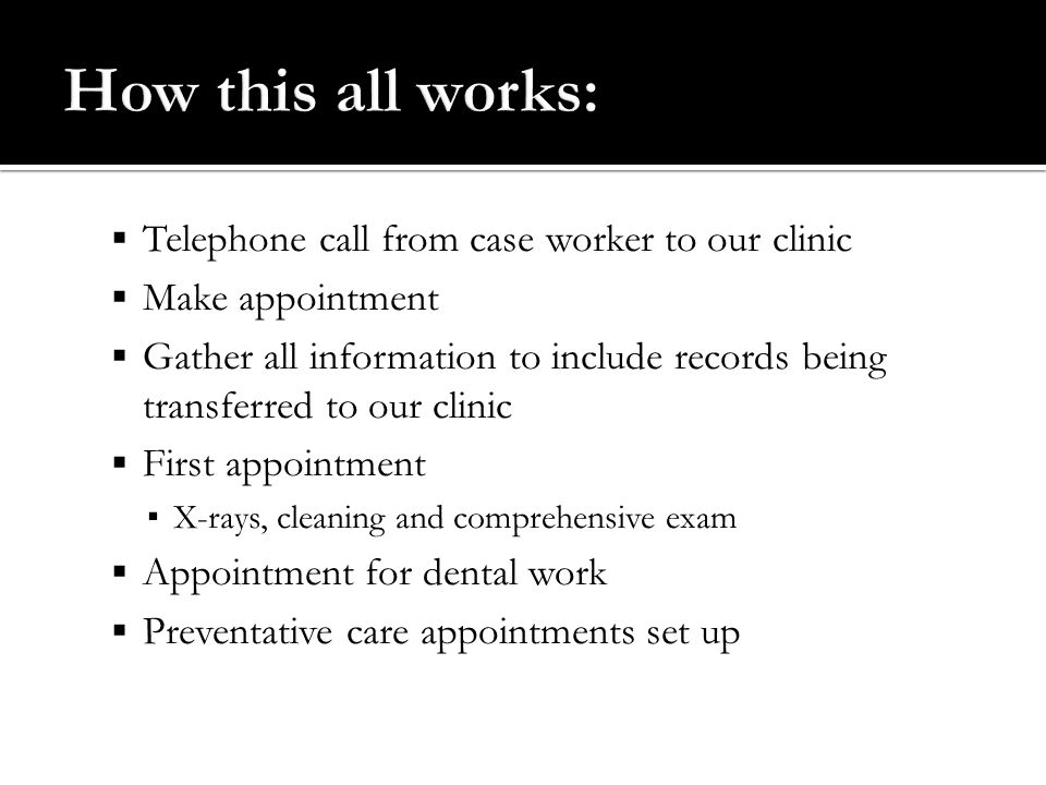 How this all works: Telephone call from case worker to our clinic