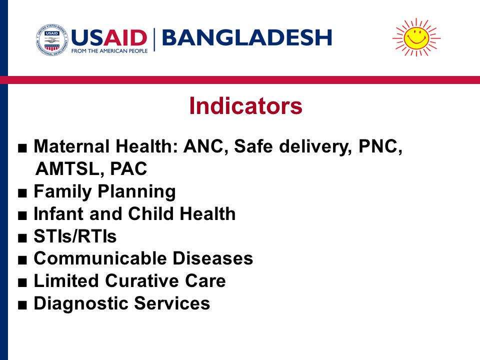 Indicators ■ Maternal Health: ANC, Safe delivery, PNC, AMTSL, PAC