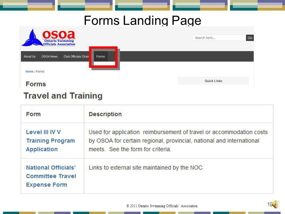 Forms Landing Page The third part is the Travel and Training forms: These are PDF documents to print.