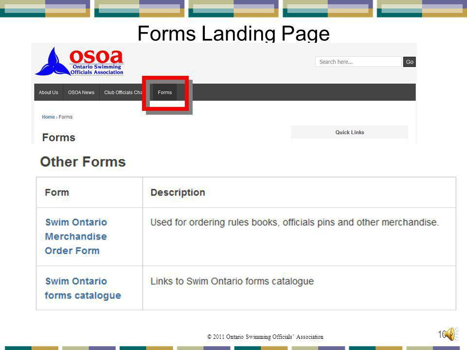 Forms Landing Page The last section is the Other Forms: These are PDF documents to print. Swim Ontario Merchandise Order Form.