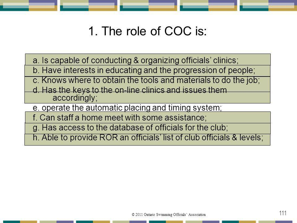 01/04/2017 1. The role of COC is: a. Is capable of conducting & organizing officials' clinics;