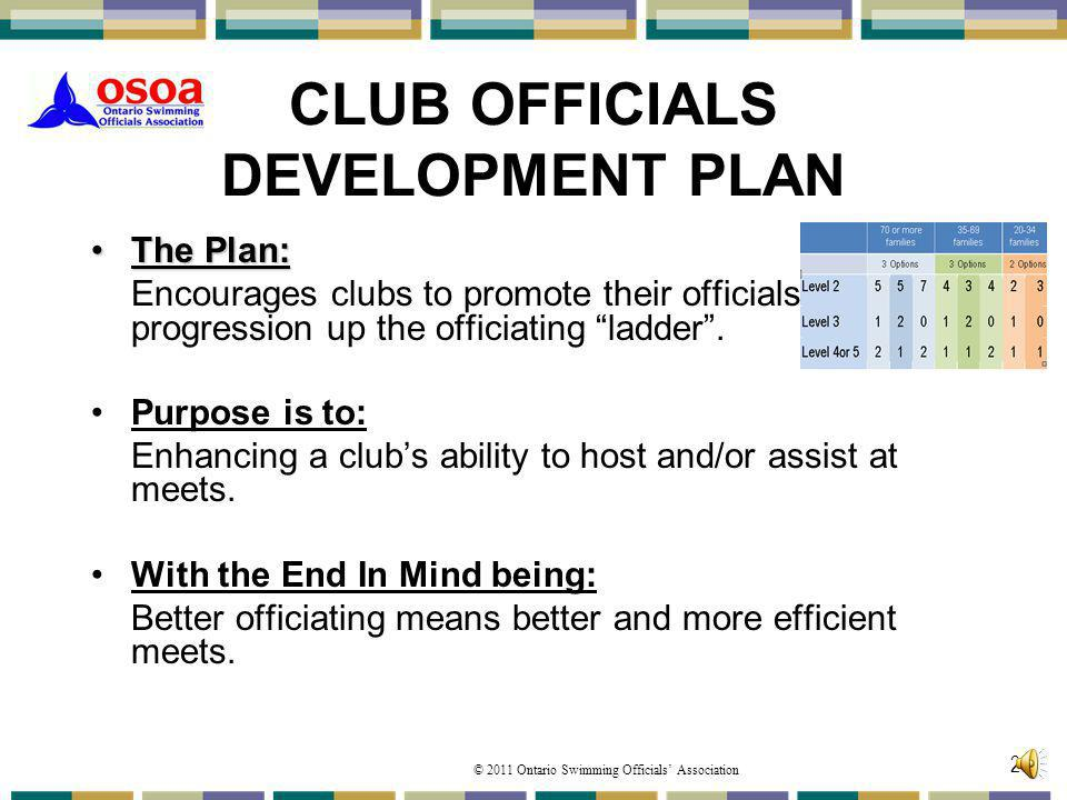 CLUB OFFICIALS DEVELOPMENT PLAN