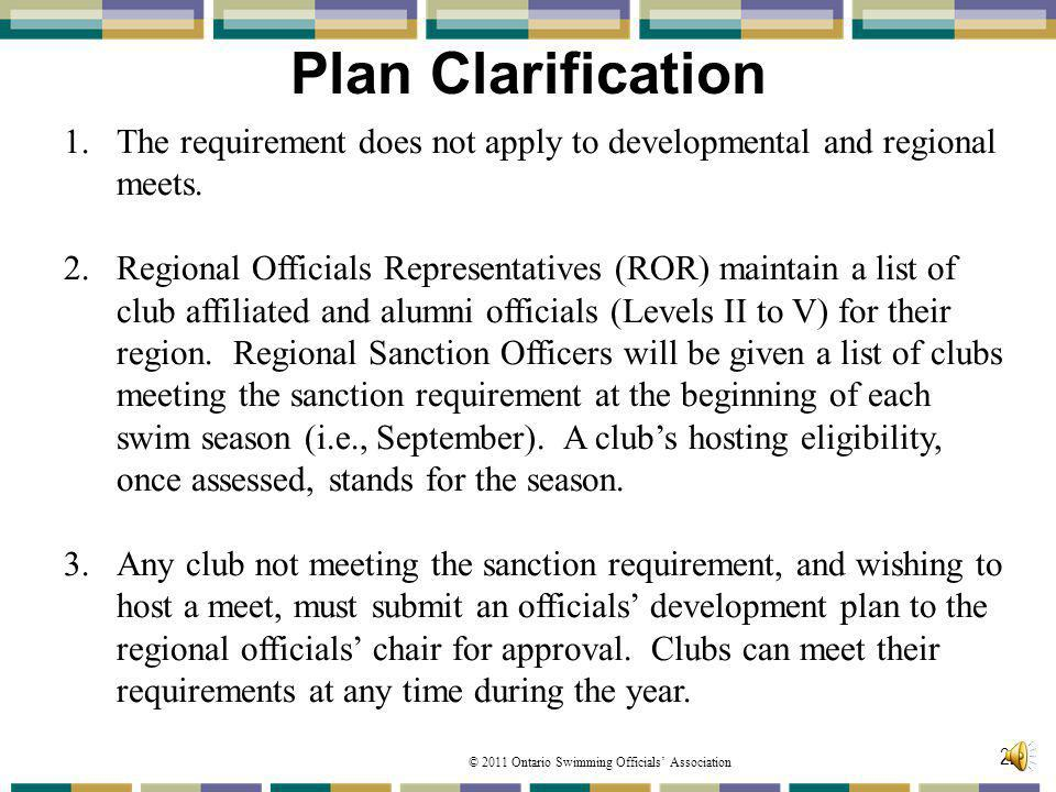 Plan Clarification The requirement does not apply to developmental and regional meets.