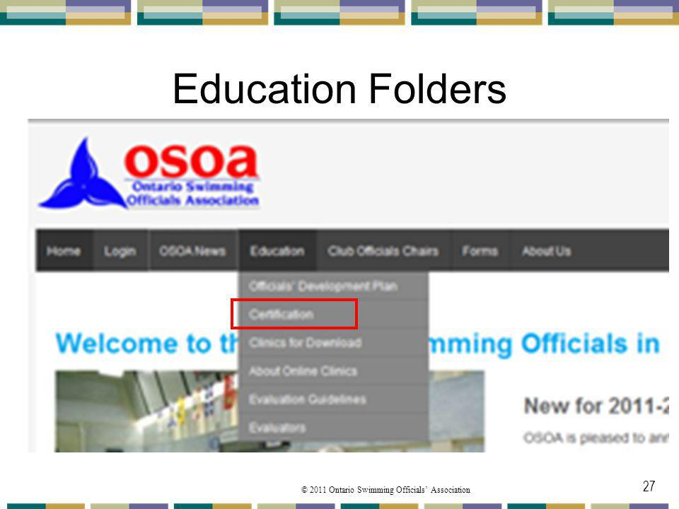 Education Folders Under the Education you will find from the pulldown menu The Certification folder