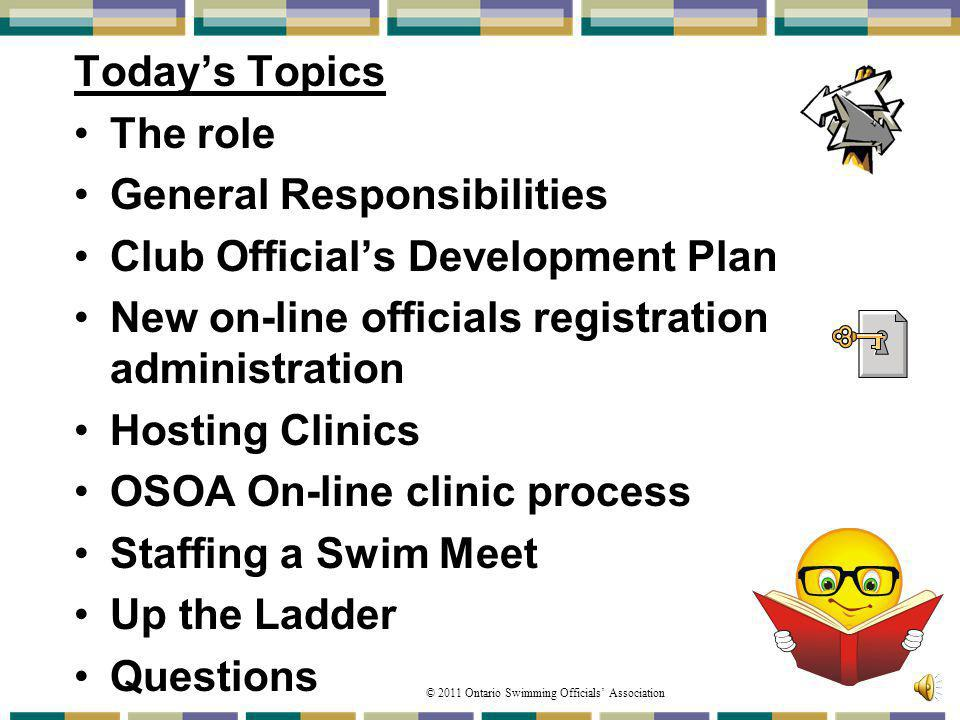 General Responsibilities Club Official's Development Plan