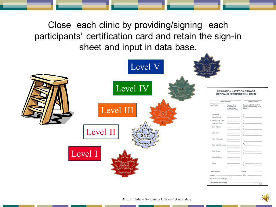 Close each clinic by providing/signing each participants' certification card and retain the sign-in sheet and input in data base.
