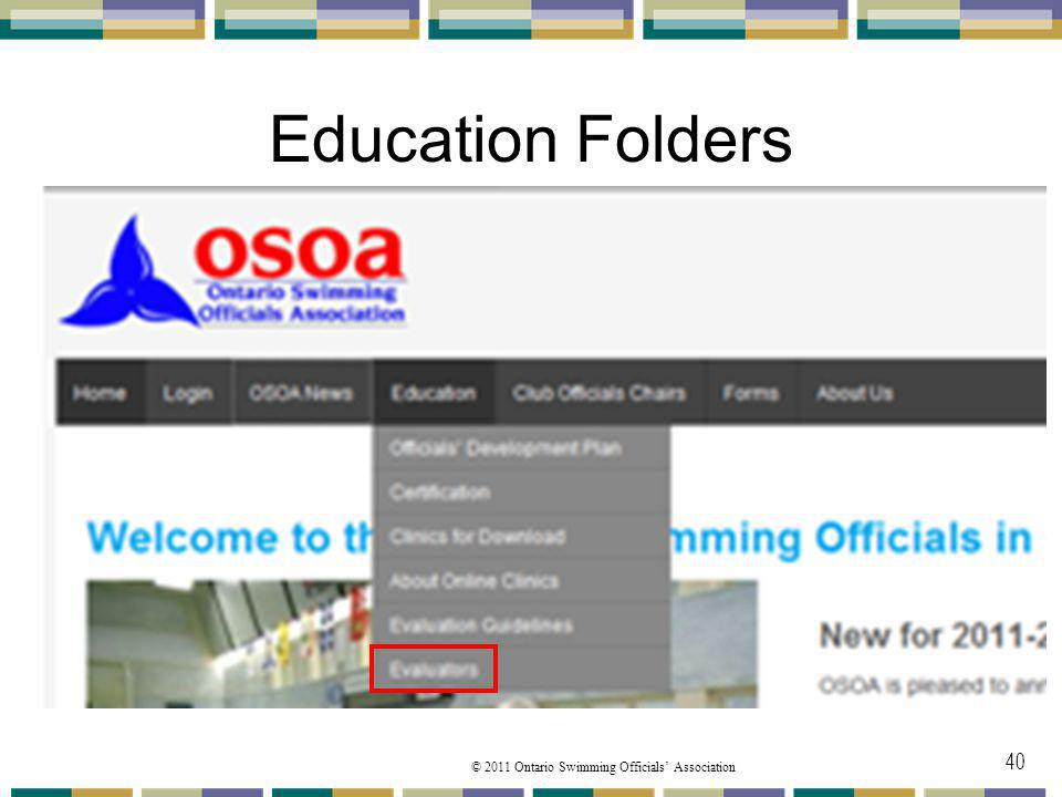 Education Folders Under the Education toolbar from the pulldown menu
