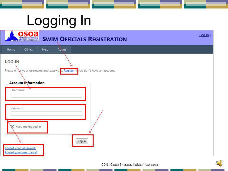 Logging In If this is your first time into the site, you click on Register and follow those prompts.