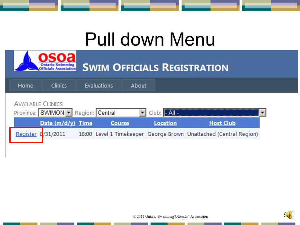 Pull down Menu From the Register for a Clinic page
