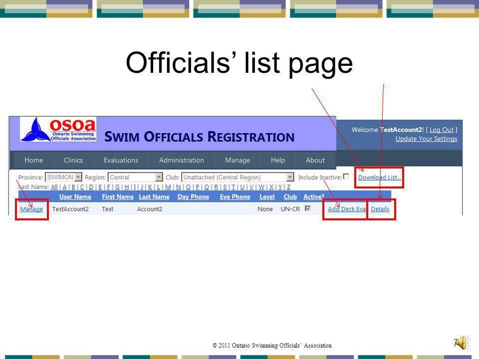 Officials' list page This folder will provide you with your clubs registered Officials List.