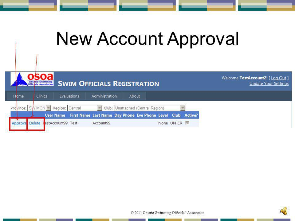 New Account Approval From the New Accounts to be Approved