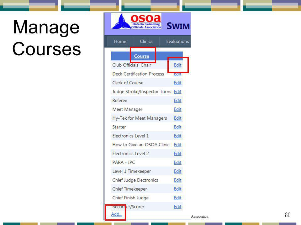 Manage Courses Once you click on the Manage Courses pulldown menu this appears.