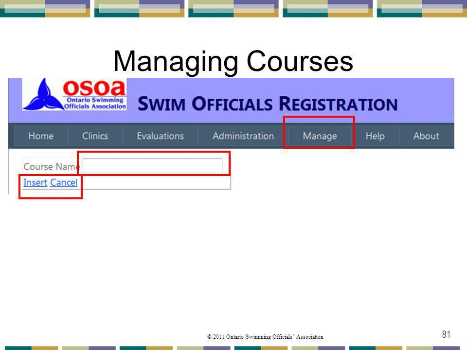 Managing Courses The display requires you to enter a course name