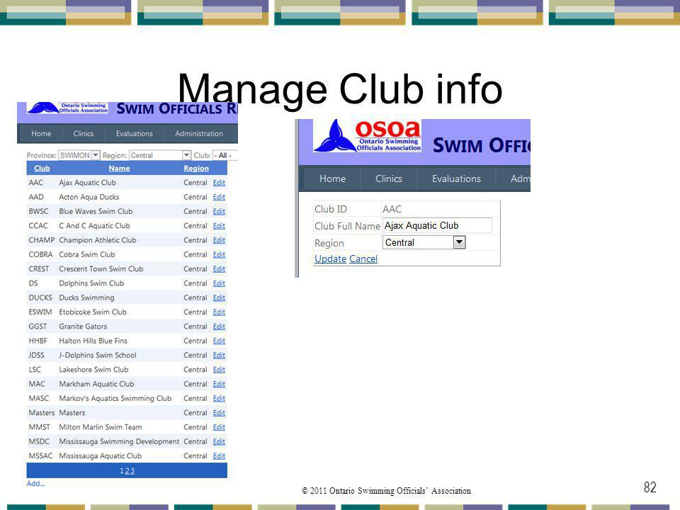 Manage Club info From the Manage toolbar you go next to the Manager Club pulldown menu option.