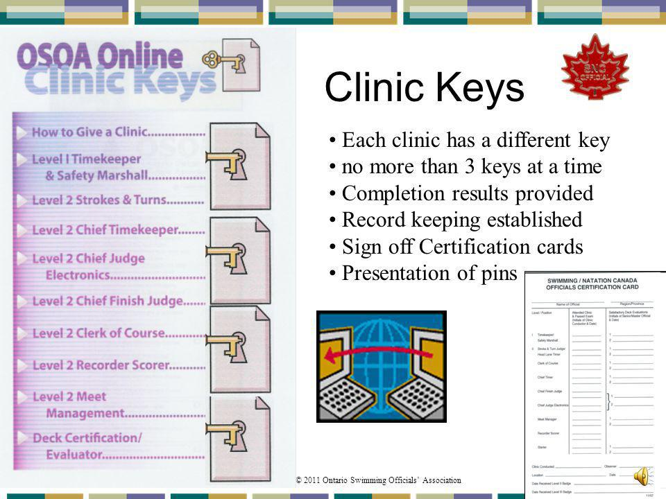 Clinic Keys Each clinic has a different key
