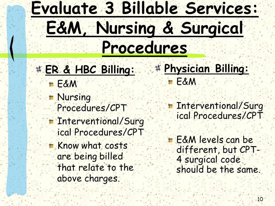 Evaluate 3 Billable Services: E&M, Nursing & Surgical Procedures