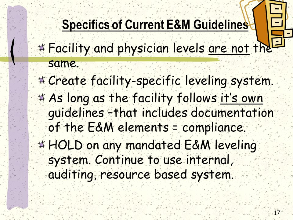 Specifics of Current E&M Guidelines