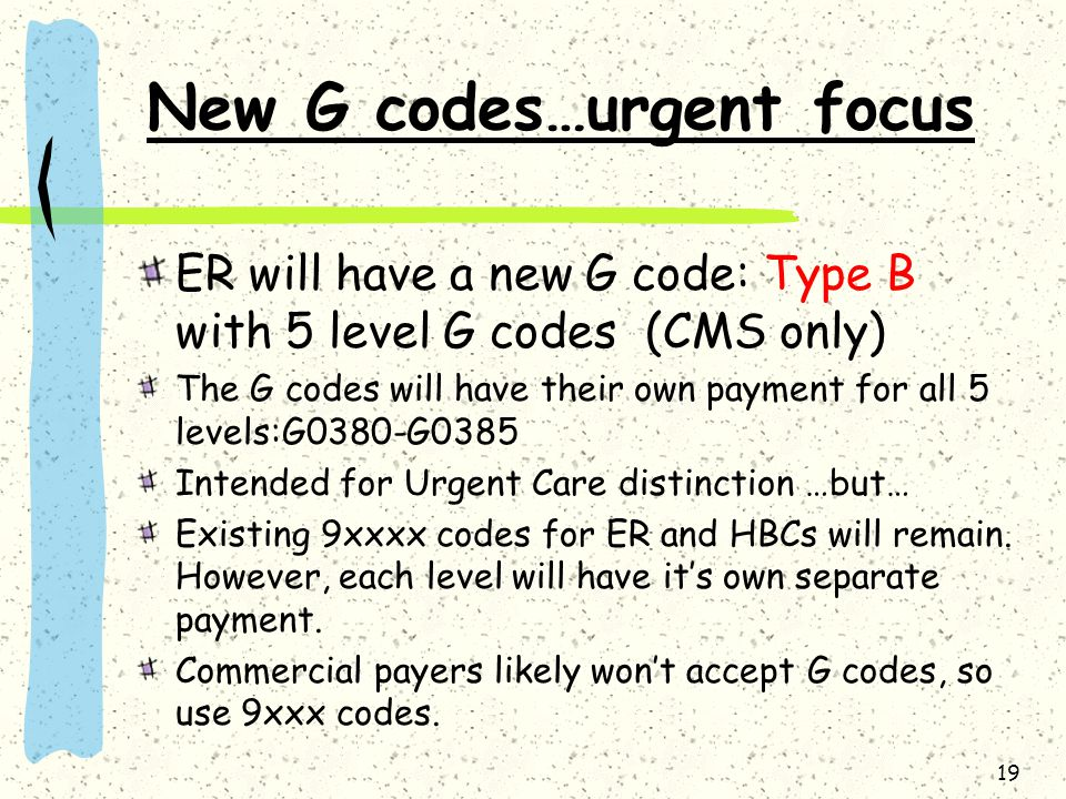 New G codes…urgent focus