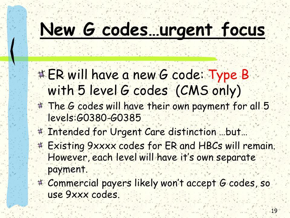 New G codes…urgent focus