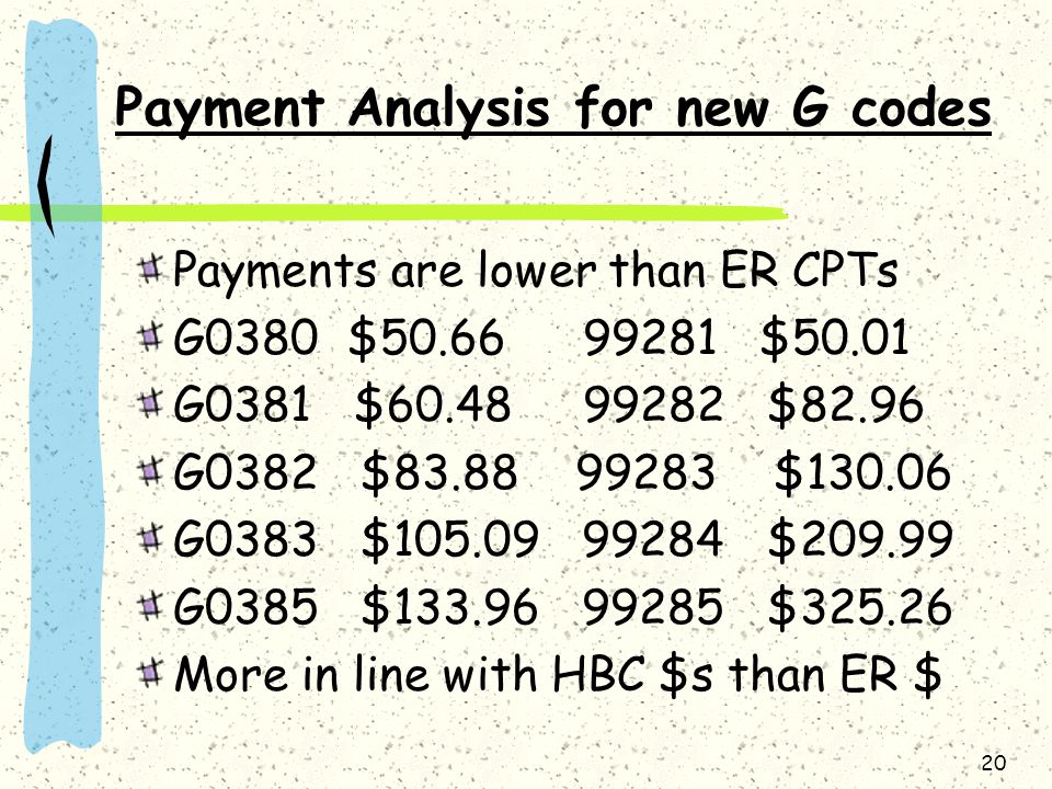Payment Analysis for new G codes