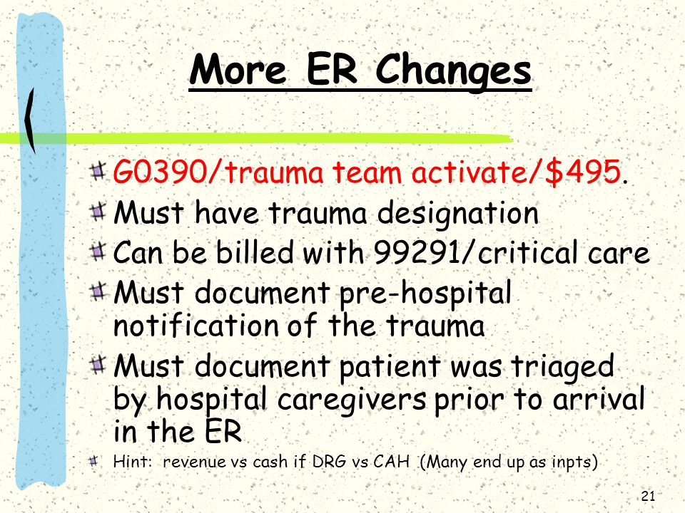 More ER Changes G0390/trauma team activate/$495.