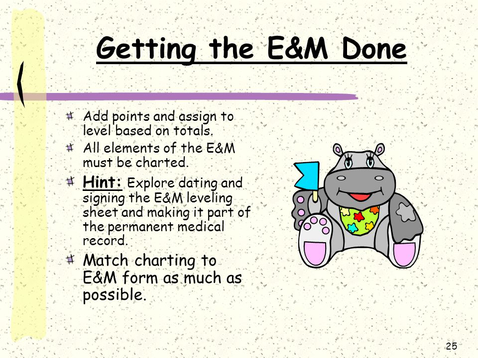 Getting the E&M Done Add points and assign to level based on totals. All elements of the E&M must be charted.
