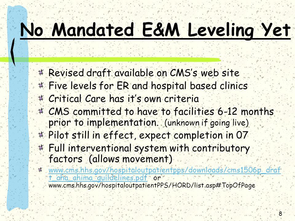 No Mandated E&M Leveling Yet