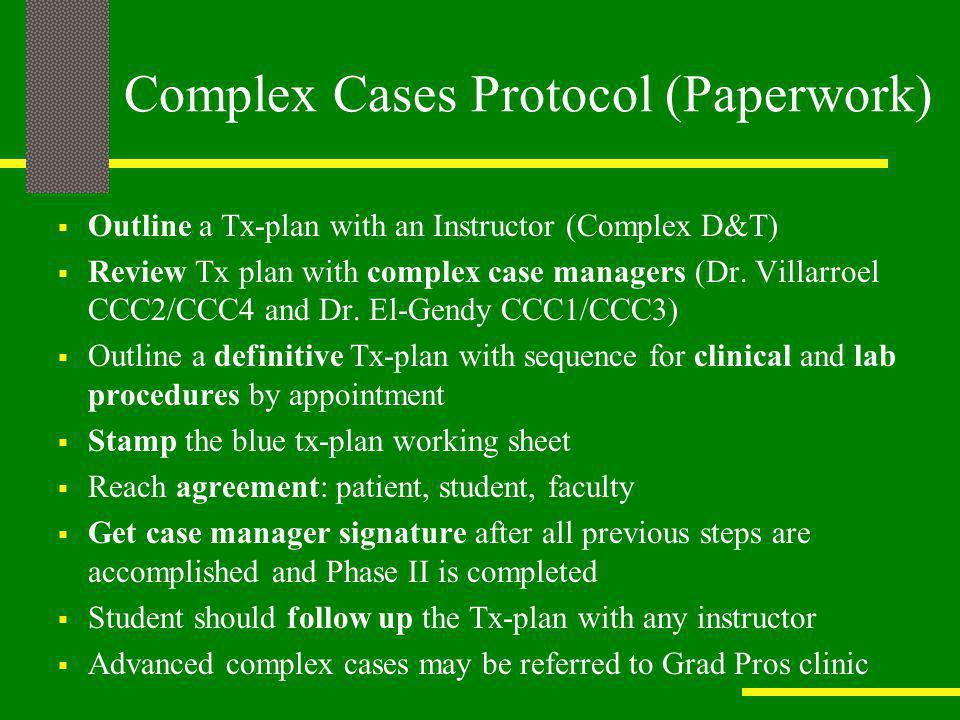 Complex Cases Protocol (Paperwork)