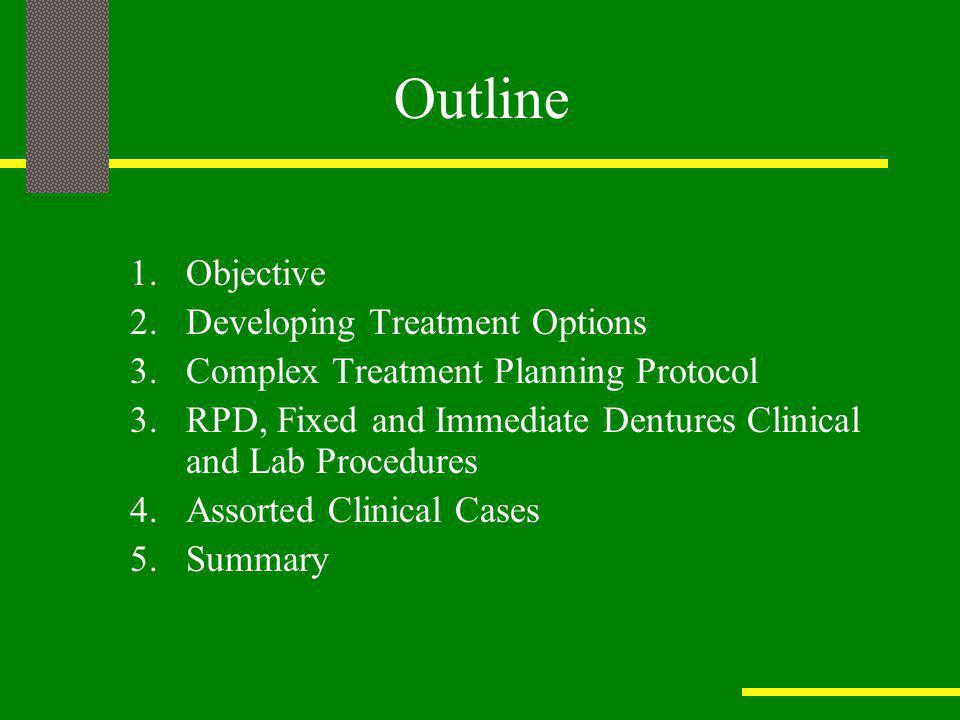 Outline Objective Developing Treatment Options