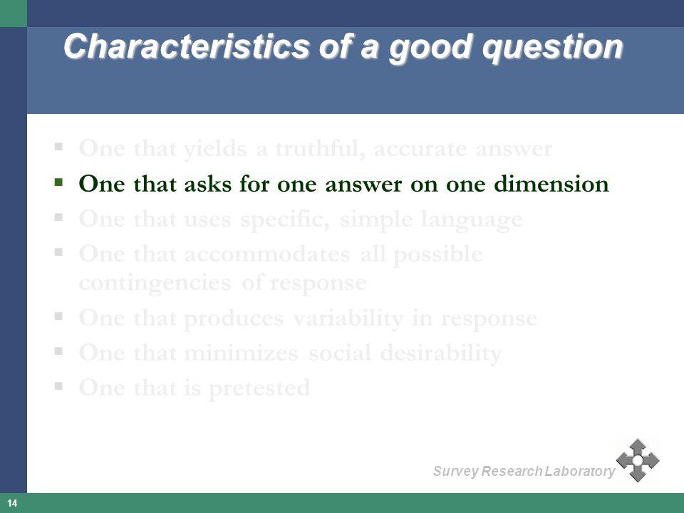 Characteristics of a good question