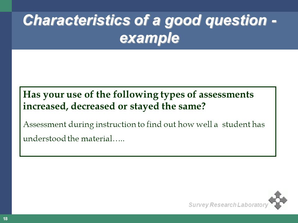Characteristics of a good question - example