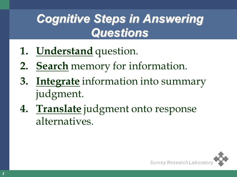 Cognitive Steps in Answering Questions