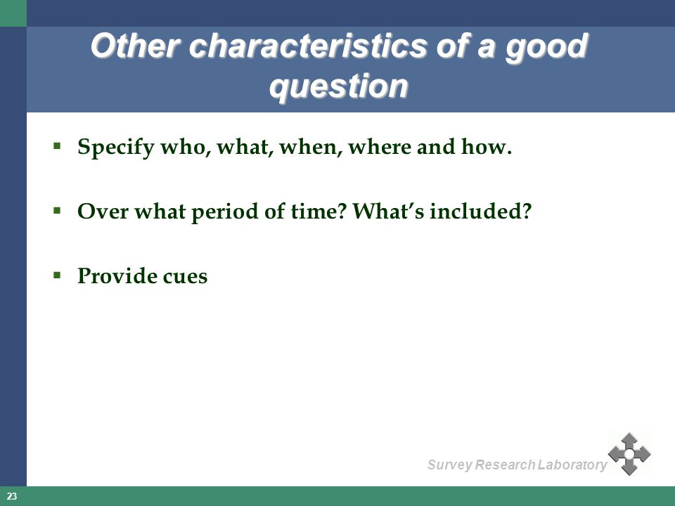 Other characteristics of a good question