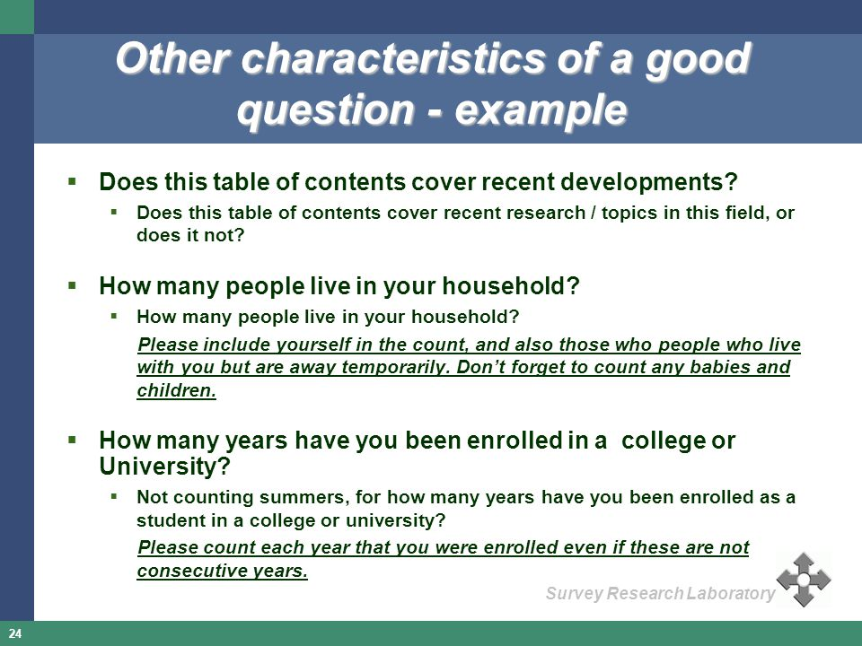 Other characteristics of a good question - example
