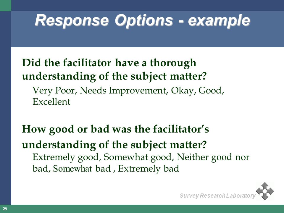 Response Options - example