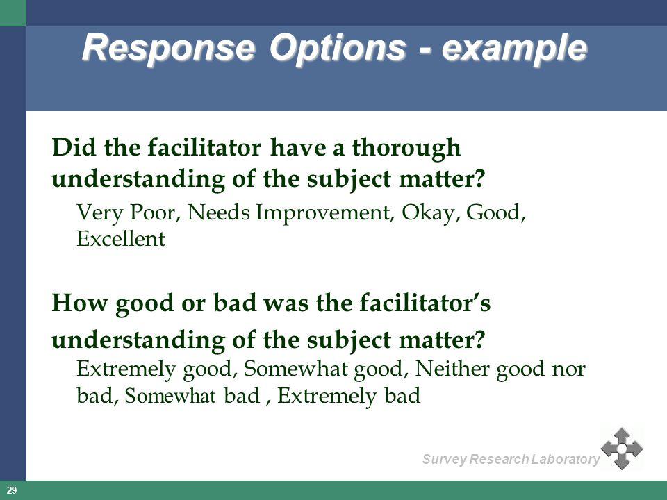 Response Options - example