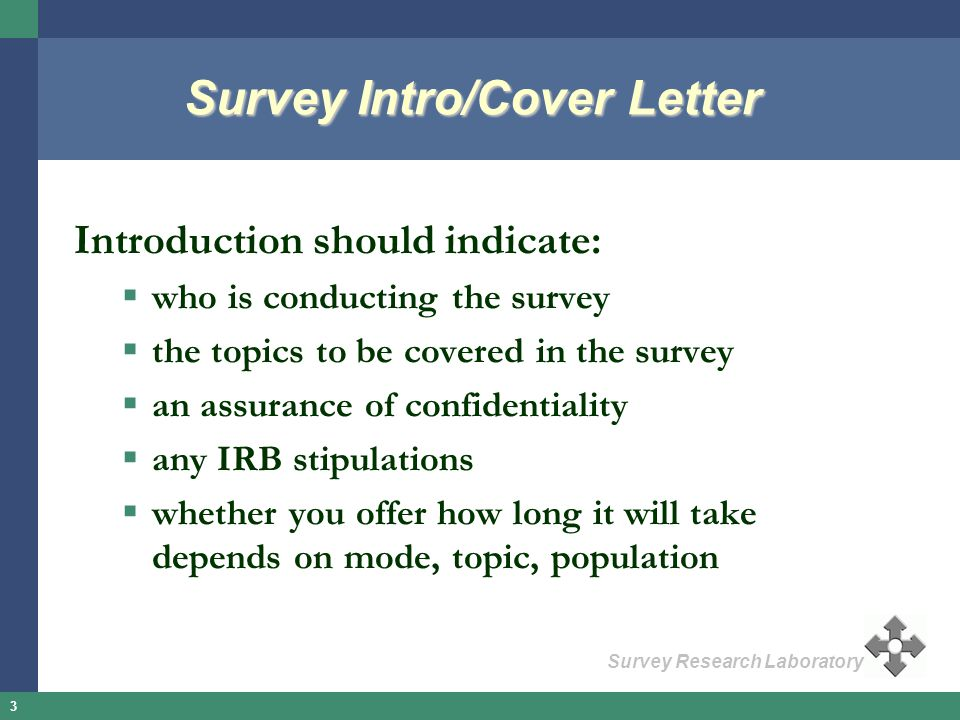 Survey Intro/Cover Letter