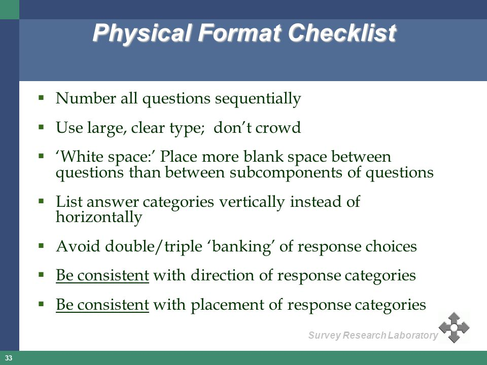Physical Format Checklist