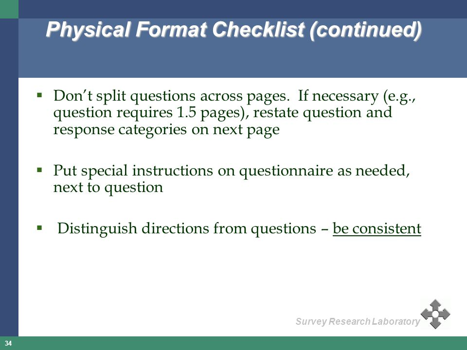 Physical Format Checklist (continued)