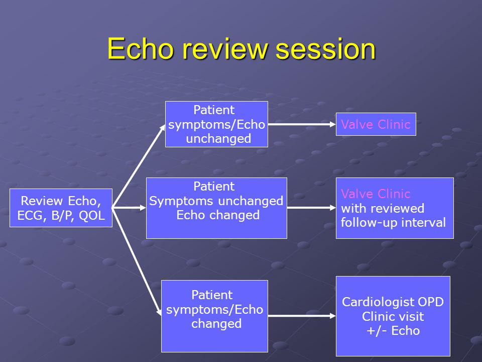 Echo review session Patient symptoms/Echo Valve Clinic unchanged
