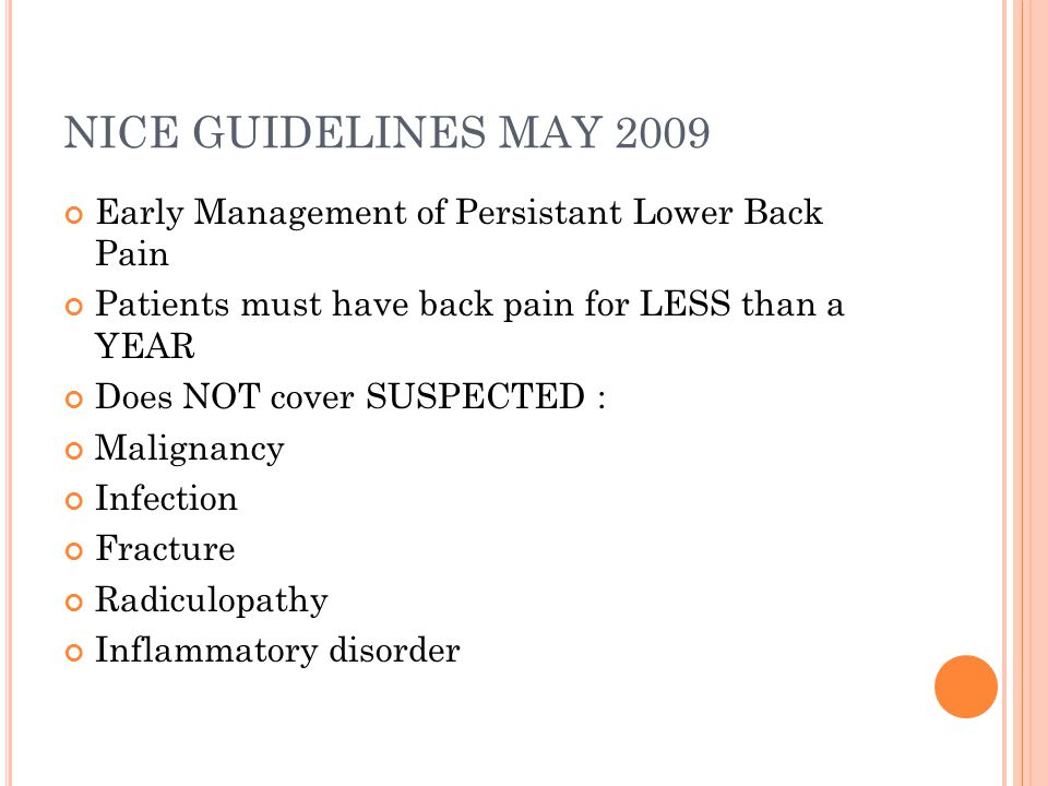 NICE GUIDELINES MAY 2009 Early Management of Persistant Lower Back Pain. Patients must have back pain for LESS than a YEAR.